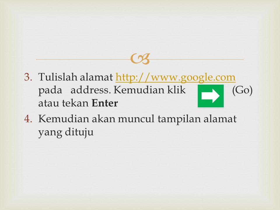 Tulislah alamat http://www. google. com pada address