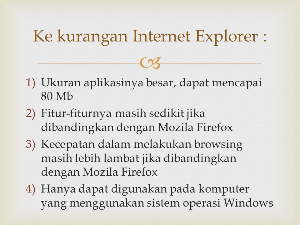Ke kurangan Internet Explorer :