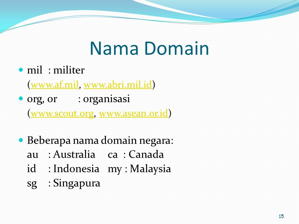 Nama Domain mil : militer (www.af.mil, www.abri.mil.id)