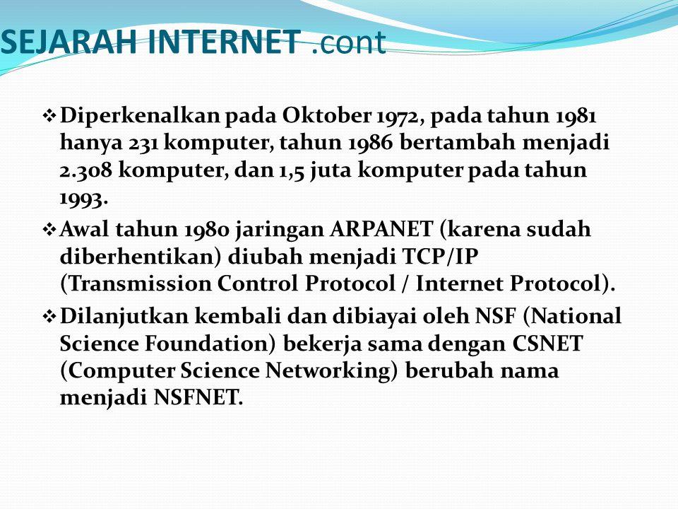SEJARAH INTERNET .cont