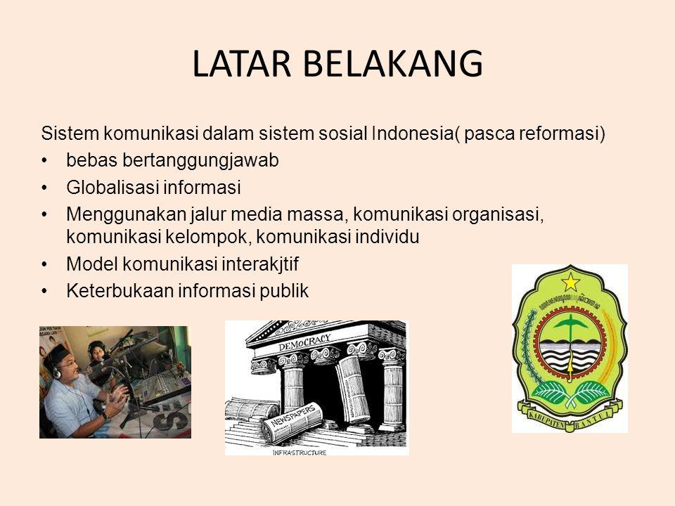 LATAR BELAKANG Sistem komunikasi dalam sistem sosial Indonesia( pasca reformasi) bebas bertanggungjawab.