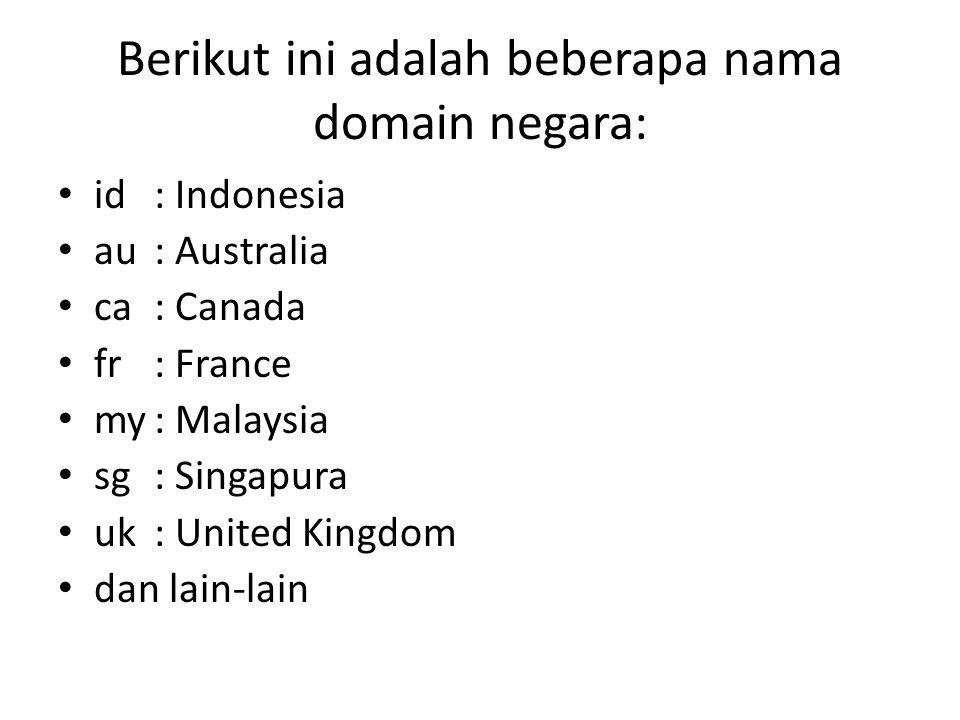 Berikut ini adalah beberapa nama domain negara: