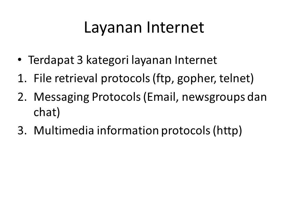 Layanan Internet Terdapat 3 kategori layanan Internet