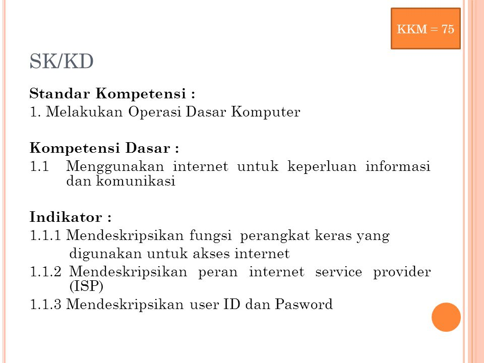 KKM = 75 SK/KD.