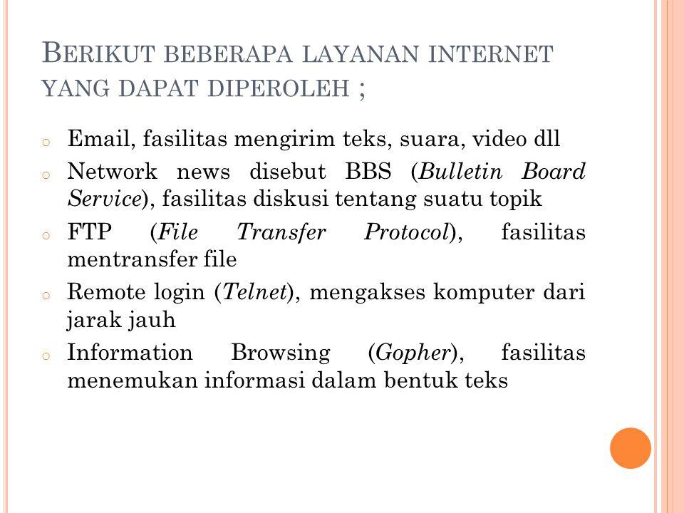 Berikut beberapa layanan internet yang dapat diperoleh ;