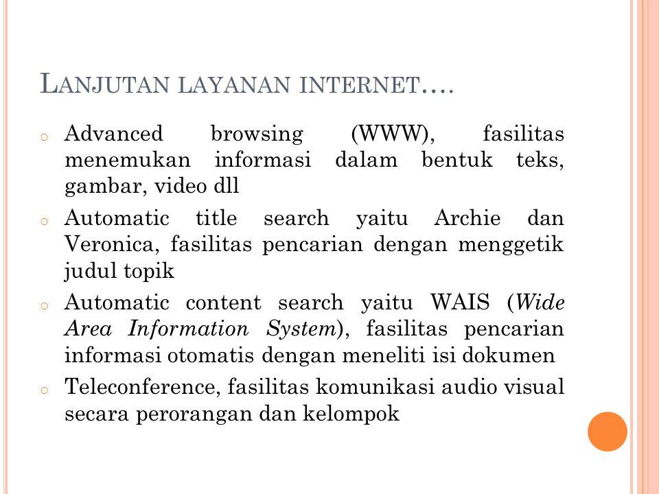 Lanjutan layanan internet….