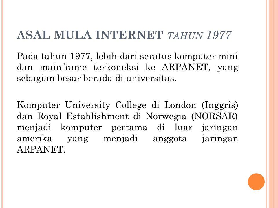 ASAL MULA INTERNET tahun 1977
