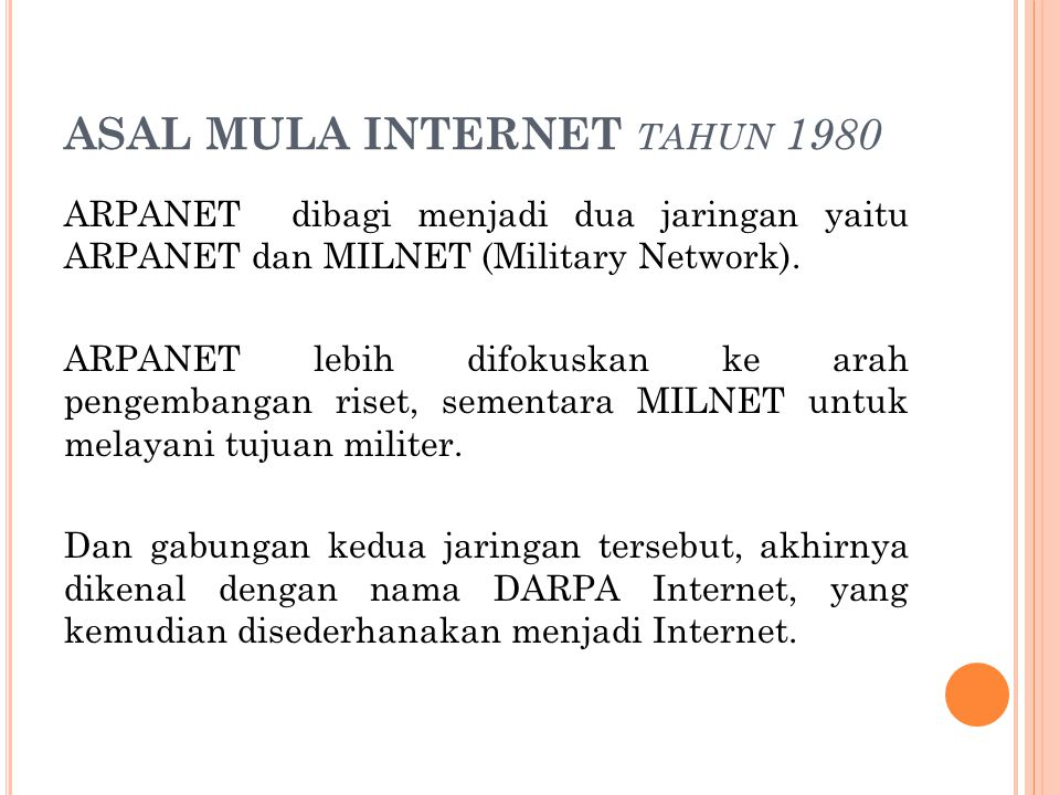ASAL MULA INTERNET tahun 1980