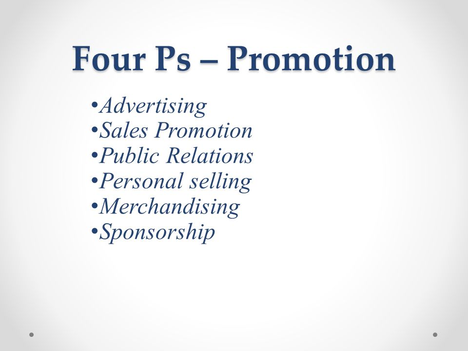 Four Ps – Promotion Advertising Sales Promotion Public Relations