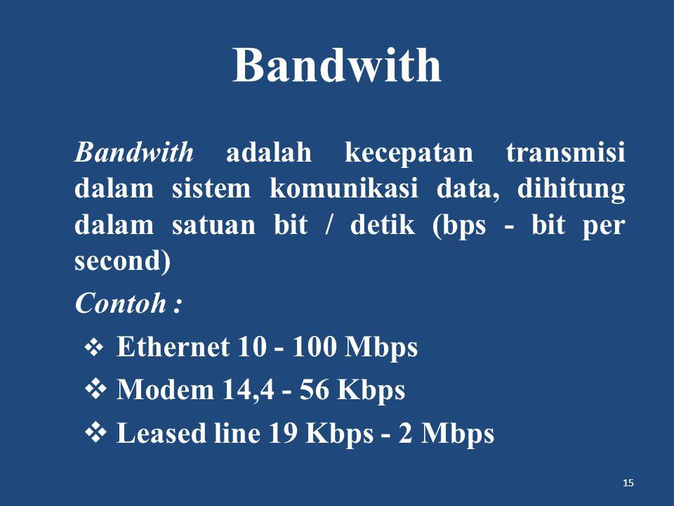 Bandwith Bandwith adalah kecepatan transmisi dalam sistem komunikasi data, dihitung dalam satuan bit / detik (bps - bit per second)