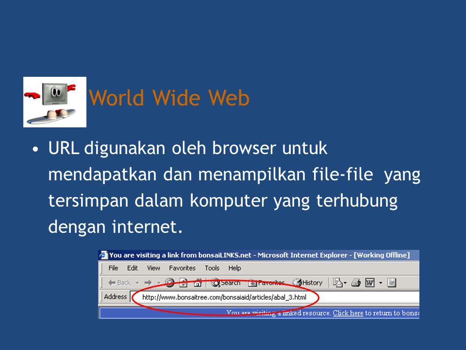 World Wide Web URL digunakan oleh browser untuk mendapatkan dan menampilkan file-file yang tersimpan dalam komputer yang terhubung dengan internet.