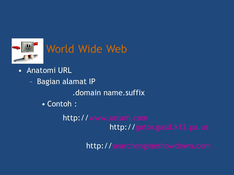 World Wide Web Anatomi URL Bagian alamat IP prefix.domain name.suffix
