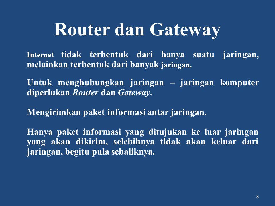 Router dan Gateway Mengirimkan paket informasi antar jaringan.