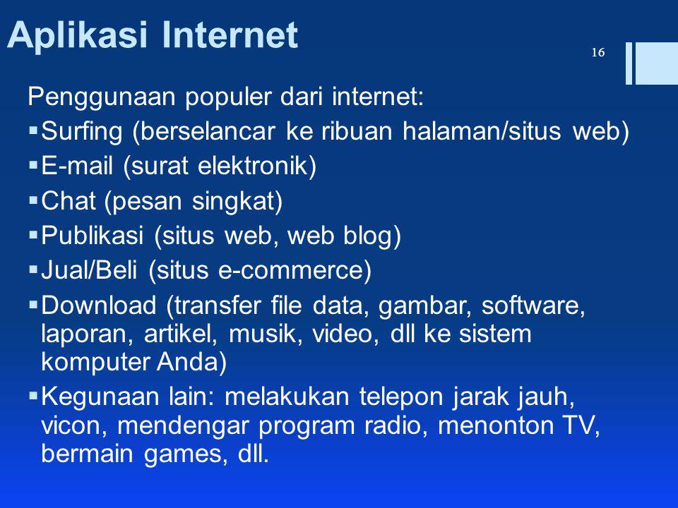 Aplikasi Internet Penggunaan populer dari internet:
