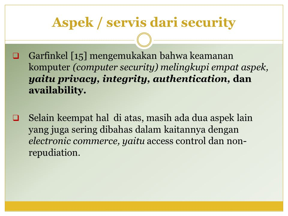 Aspek / servis dari security