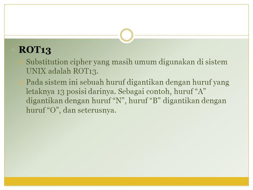 ROT13 Substitution cipher yang masih umum digunakan di sistem UNIX adalah ROT13.
