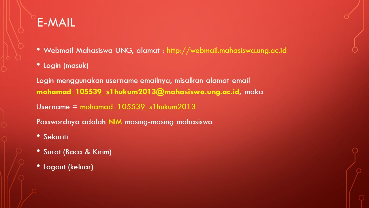 E-Mail Webmail Mahasiswa UNG, alamat : http://webmail.mahasiswa.ung.ac.id. Login (masuk)