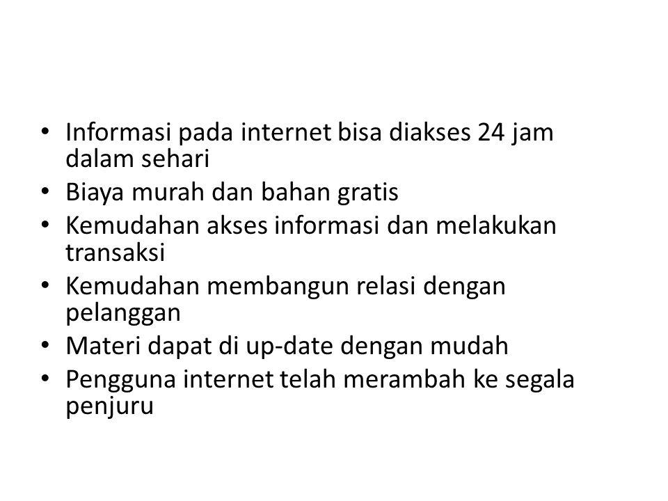 Informasi pada internet bisa diakses 24 jam dalam sehari
