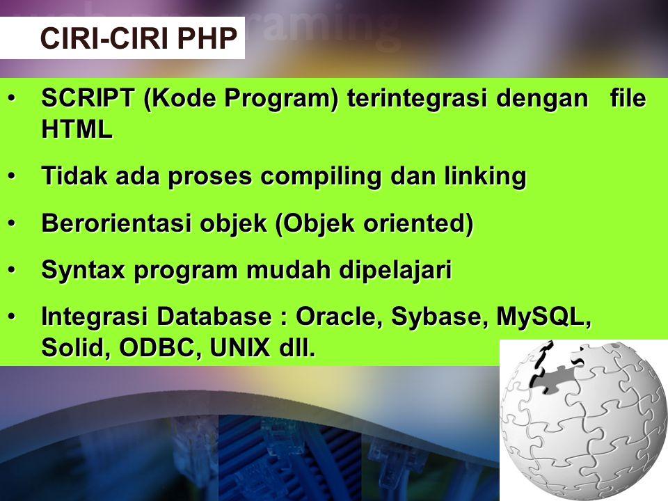 CIRI-CIRI PHP SCRIPT (Kode Program) terintegrasi dengan file HTML