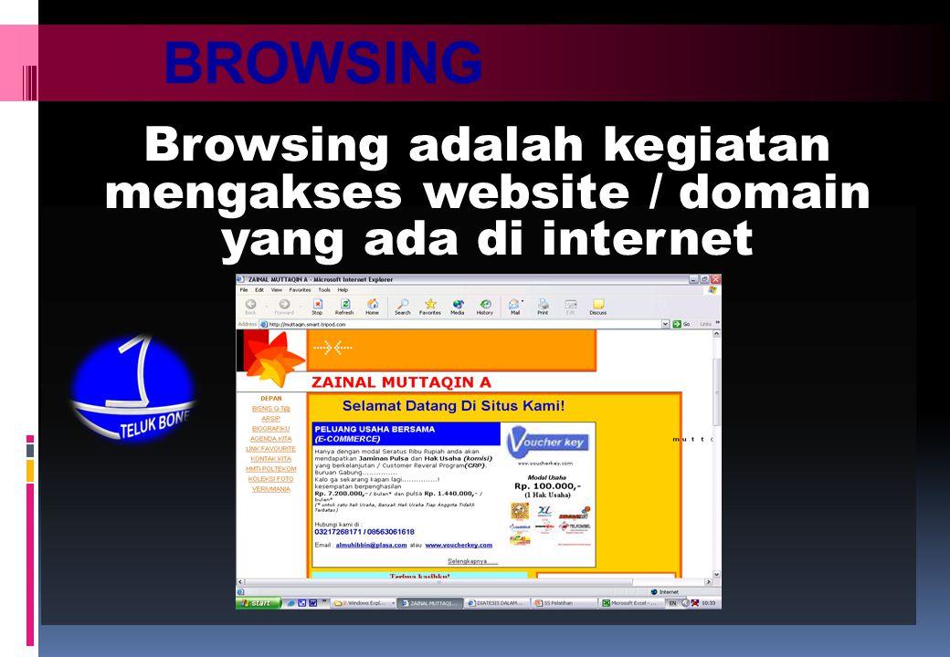 BROWSING Browsing adalah kegiatan mengakses website / domain yang ada di internet