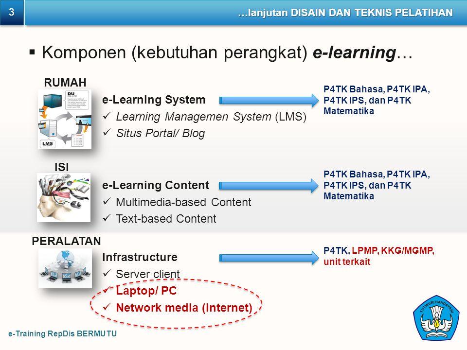 Komponen (kebutuhan perangkat) e-learning…