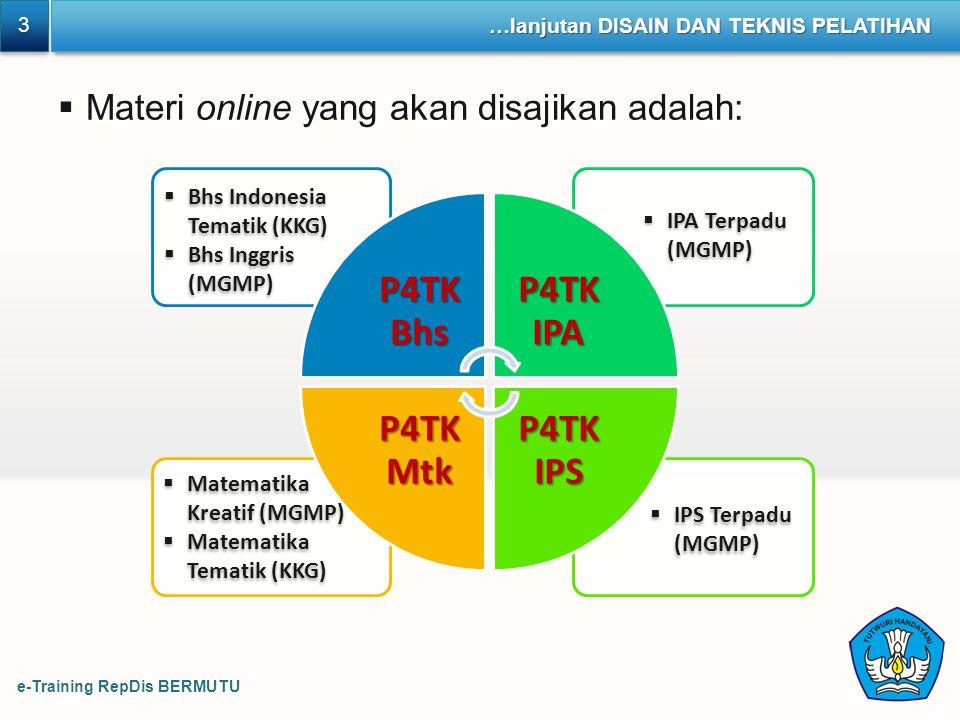 Materi online yang akan disajikan adalah: