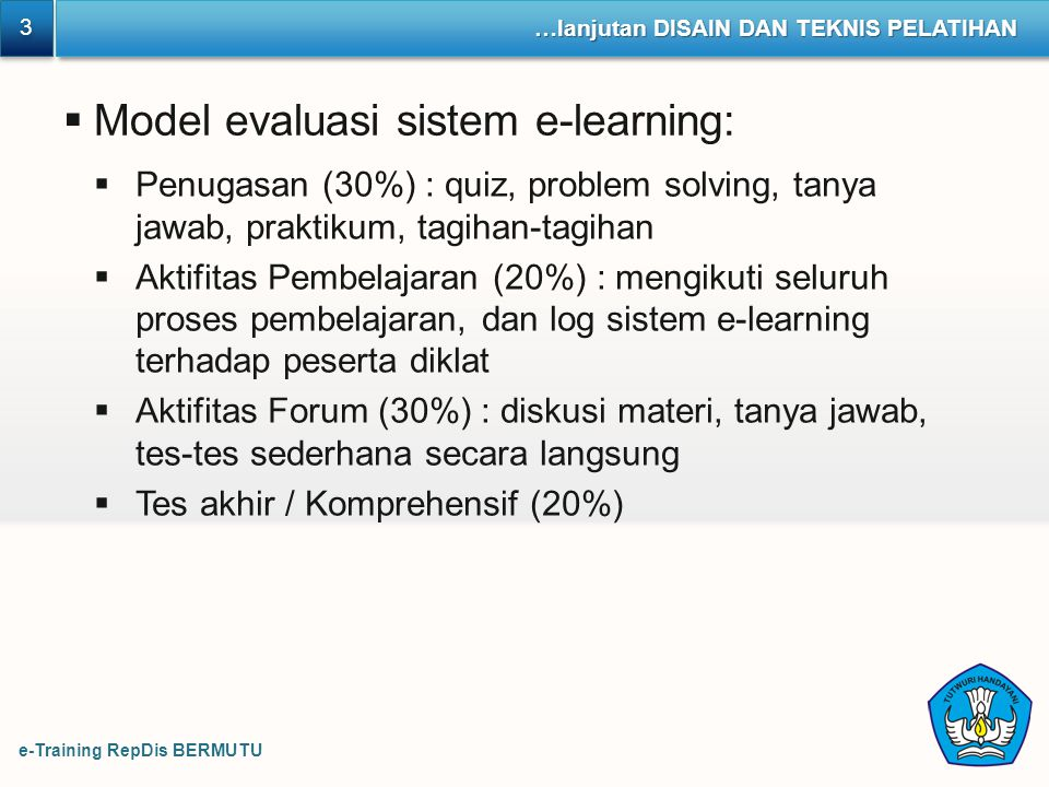 Model evaluasi sistem e-learning: