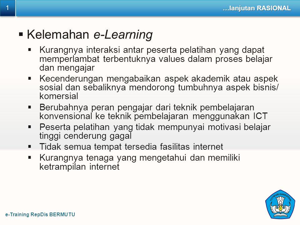 1 …lanjutan RASIONAL. Kelemahan e-Learning.