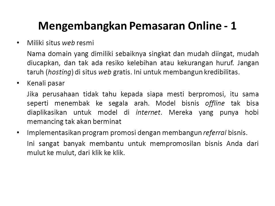 Mengembangkan Pemasaran Online - 1