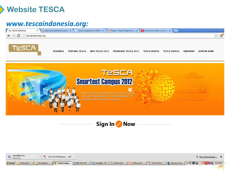 Website TESCA www.tescaindonesia.org: