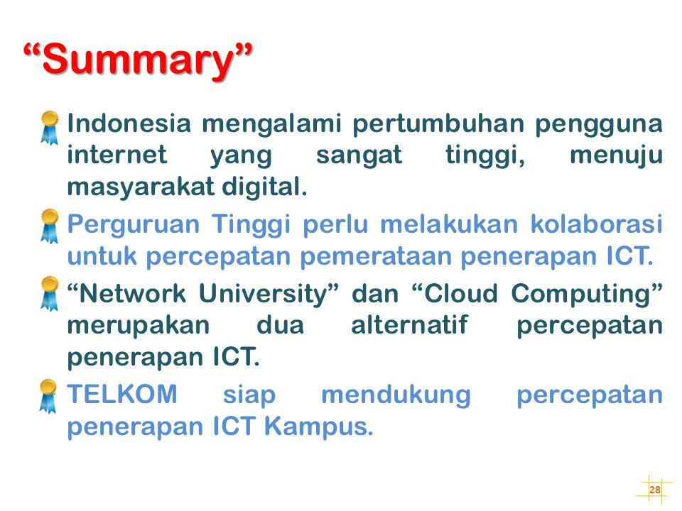 Summary Indonesia mengalami pertumbuhan pengguna internet yang sangat tinggi, menuju masyarakat digital.