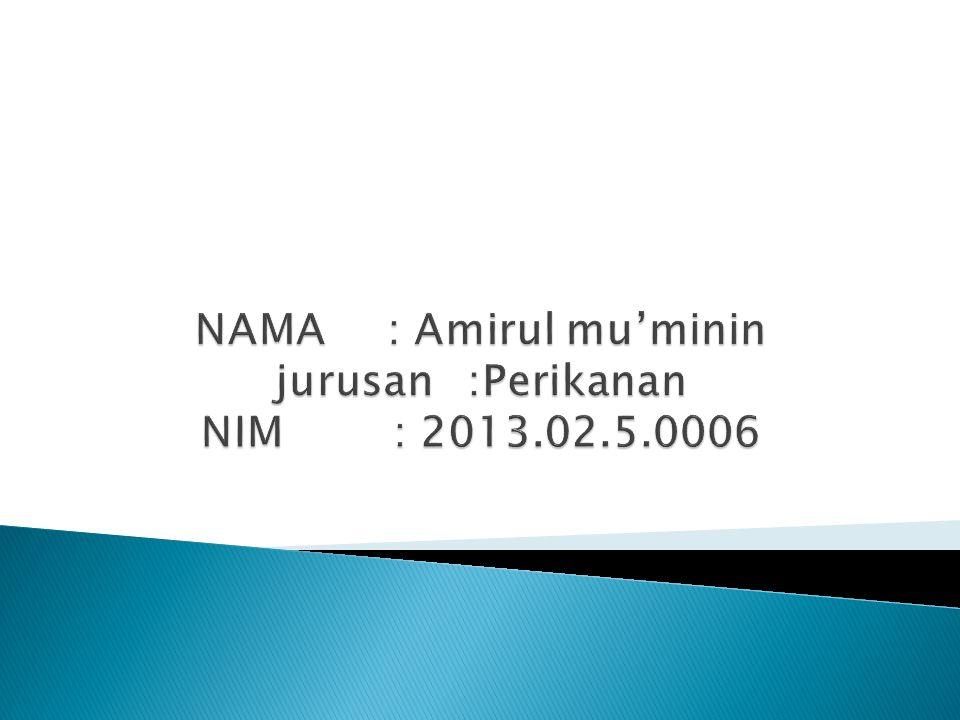 NAMA : Amirul mu'minin jurusan :Perikanan NIM : 2013.02.5.0006