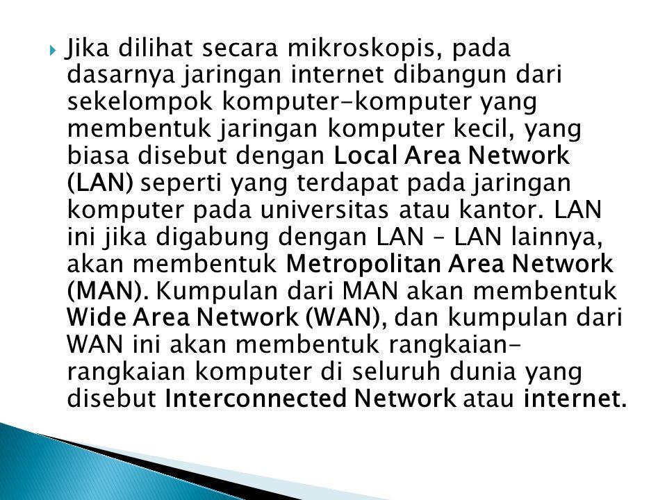 Jika dilihat secara mikroskopis, pada dasarnya jaringan internet dibangun dari sekelompok komputer-komputer yang membentuk jaringan komputer kecil, yang biasa disebut dengan Local Area Network (LAN) seperti yang terdapat pada jaringan komputer pada universitas atau kantor.