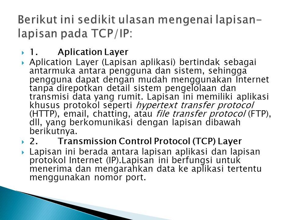 Berikut ini sedikit ulasan mengenai lapisan-lapisan pada TCP/IP:
