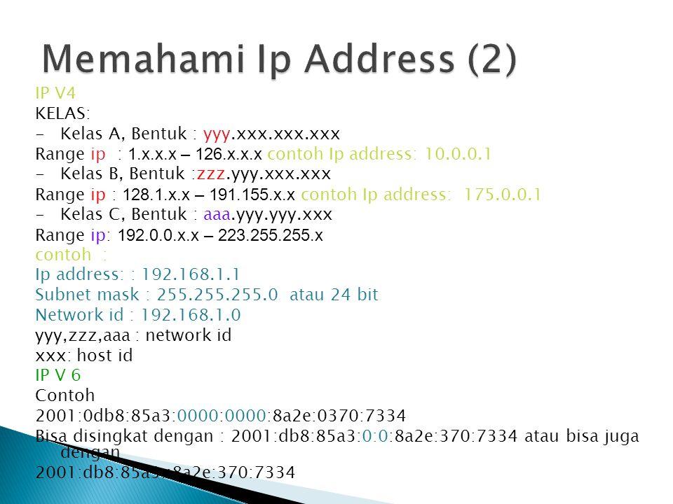 Memahami Ip Address (2) IP V4 KELAS: Kelas A, Bentuk : yyy.xxx.xxx.xxx