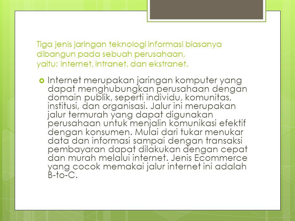Tiga jenis jaringan teknologi informasi biasanya dibangun pada sebuah perusahaan, yaitu: internet, intranet, dan ekstranet.