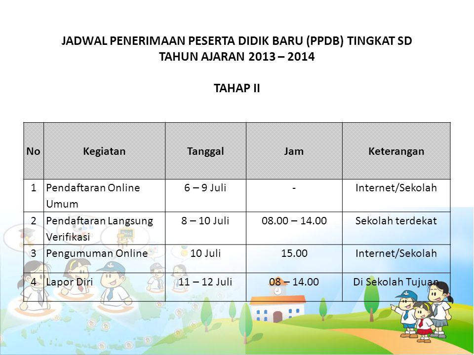 JADWAL PENERIMAAN PESERTA DIDIK BARU (PPDB) TINGKAT SD TAHUN AJARAN 2013 – 2014 TAHAP II
