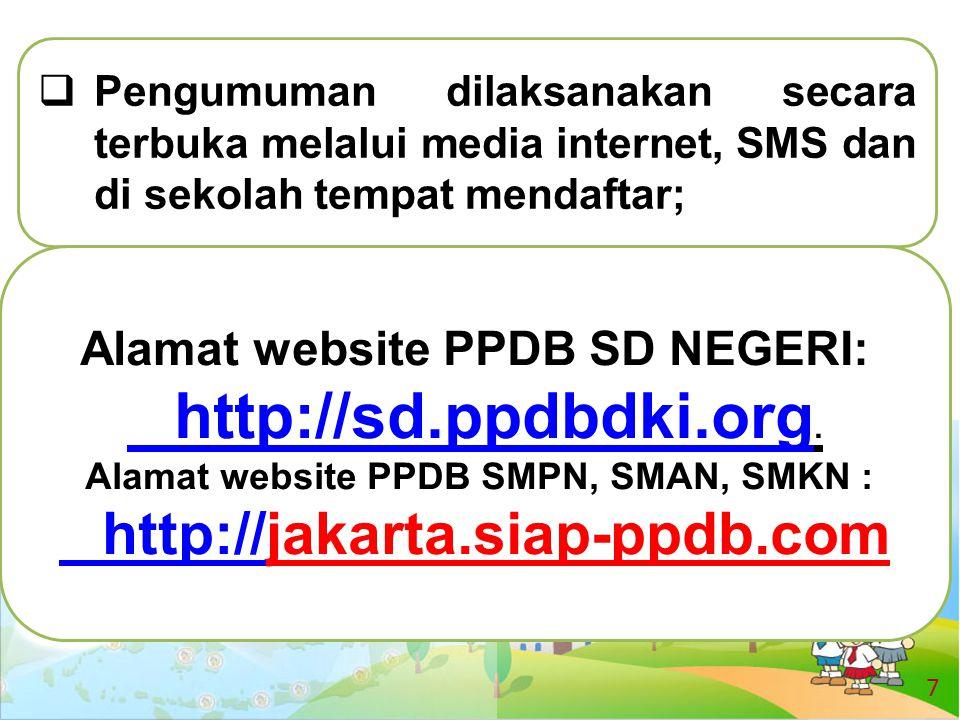 Alamat website PPDB SD NEGERI: Alamat website PPDB SMPN, SMAN, SMKN :