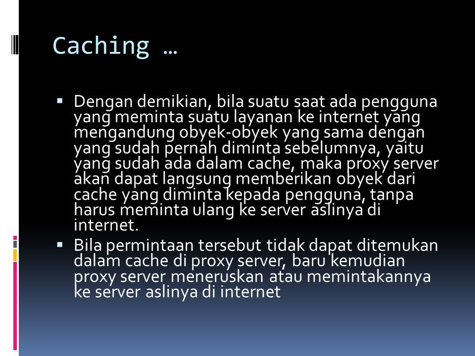 Caching …