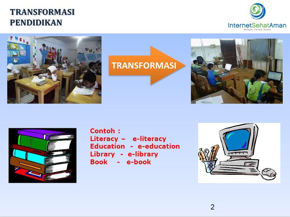 TRANSFORMASI TRANSFORMASI PENDIDIKAN Contoh : Literacy – e-literacy