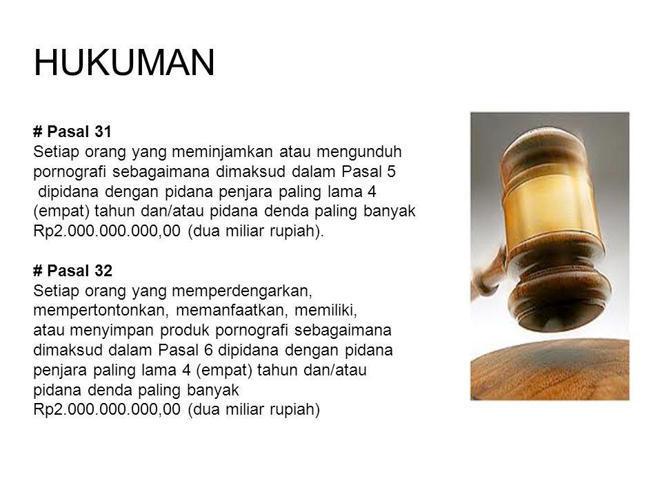 HUKUMAN # Pasal 31 Setiap orang yang meminjamkan atau mengunduh