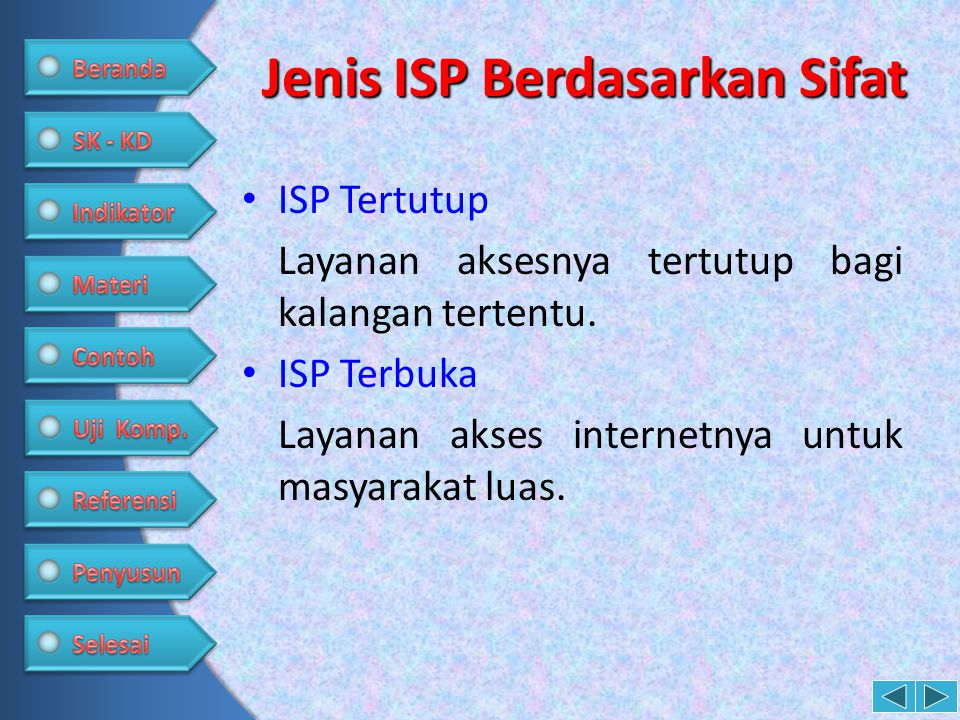Jenis ISP Berdasarkan Sifat