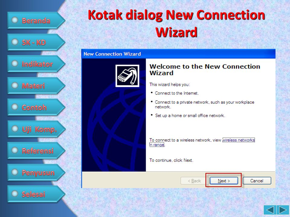Kotak dialog New Connection Wizard