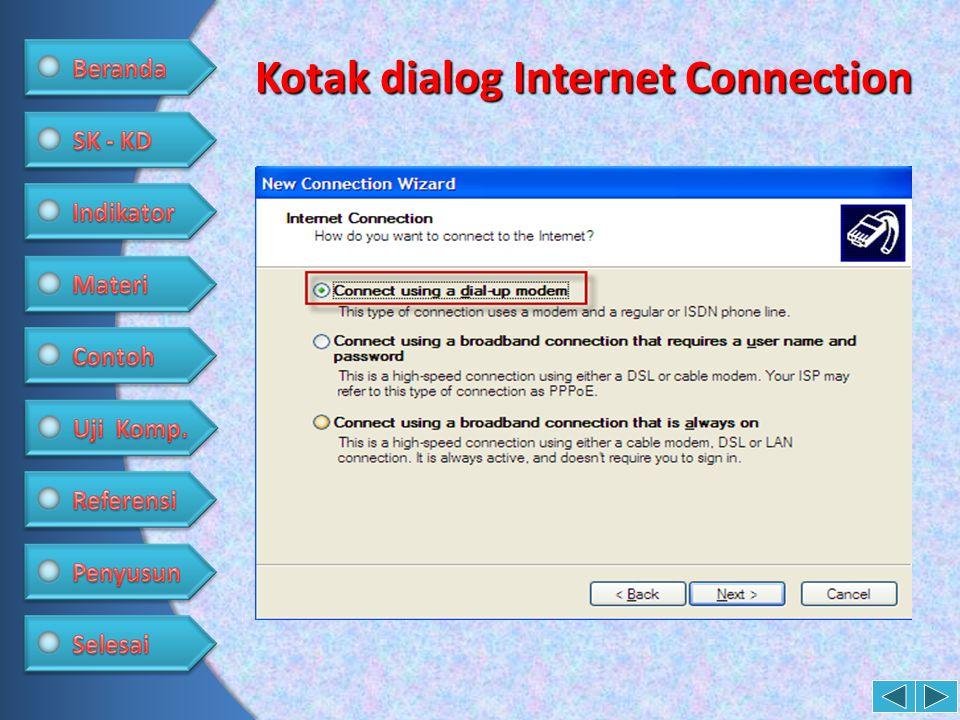 Kotak dialog Internet Connection