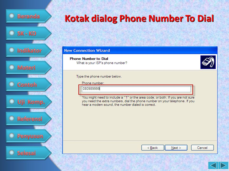 Kotak dialog Phone Number To Dial