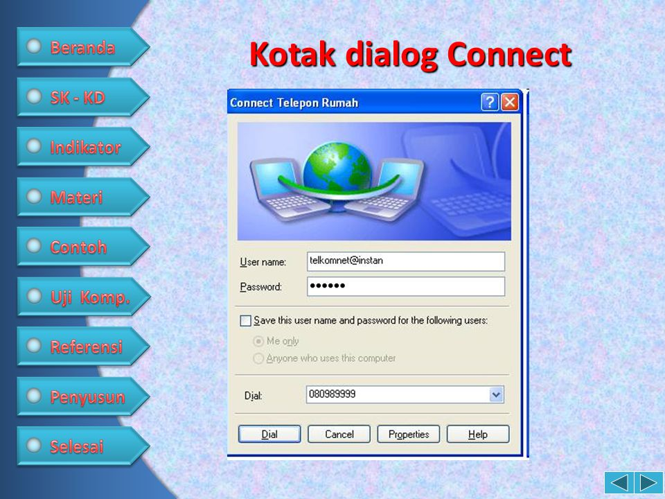 Kotak dialog Connect