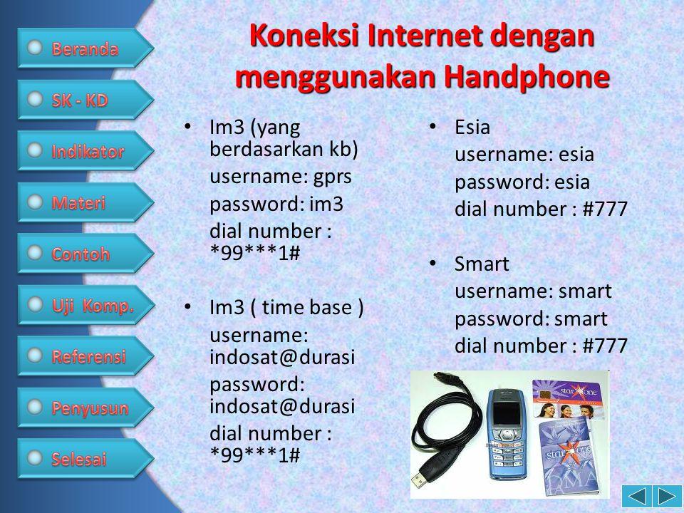 Koneksi Internet dengan menggunakan Handphone