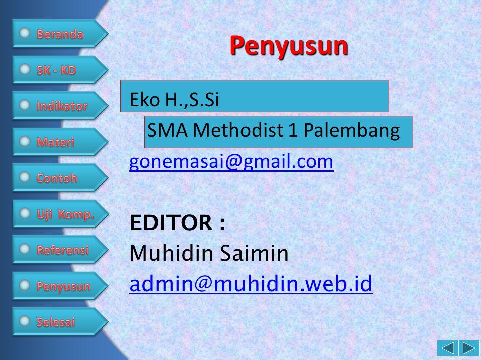Penyusun Eko H.,S.Si SMA Methodist 1 Palembang gonemasai@gmail.com