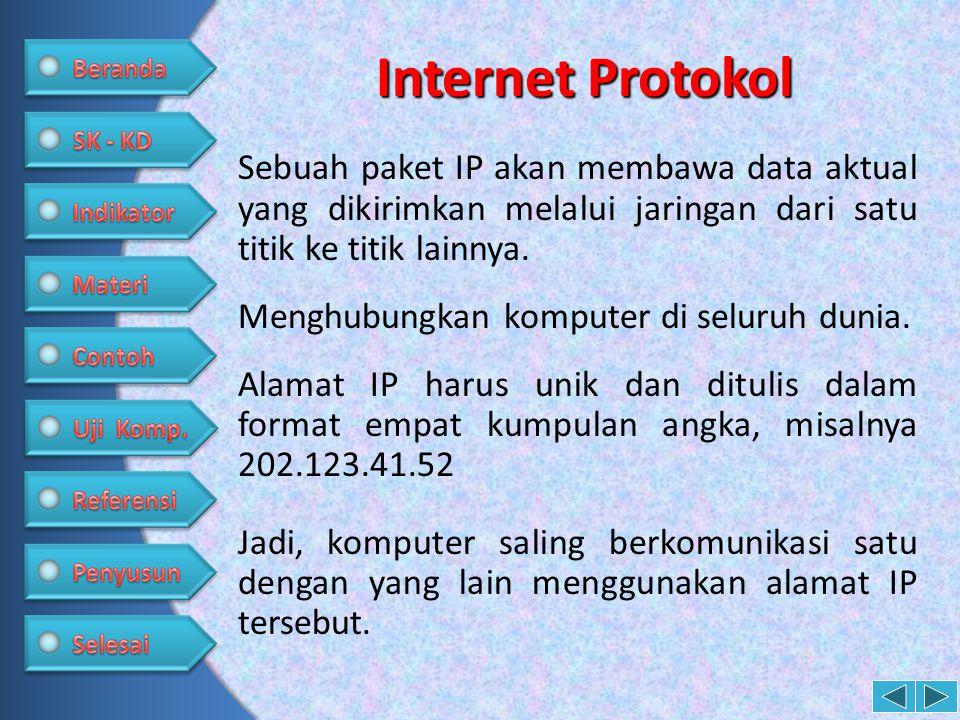 Internet Protokol Sebuah paket IP akan membawa data aktual yang dikirimkan melalui jaringan dari satu titik ke titik lainnya.