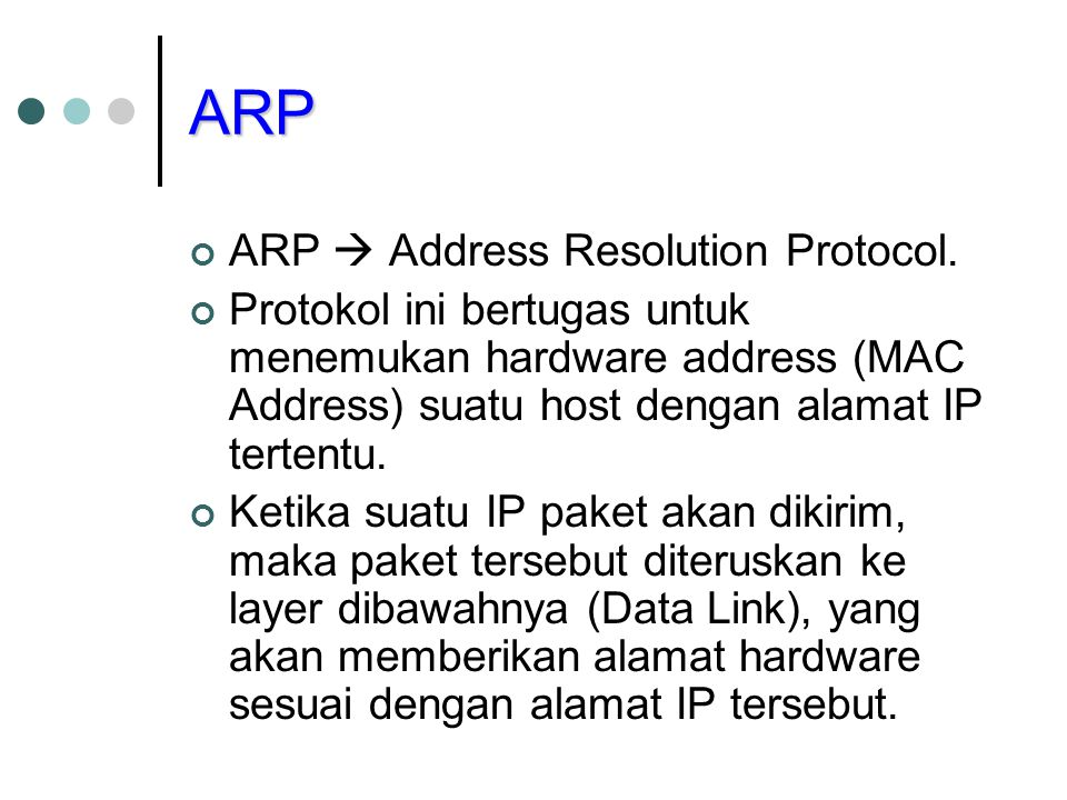 ARP ARP  Address Resolution Protocol.